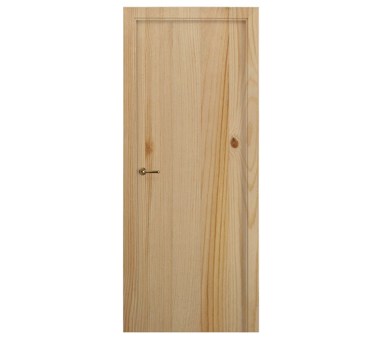 Puerta Interior Maciza Lisa De Pino Natural 2110x625x35mm